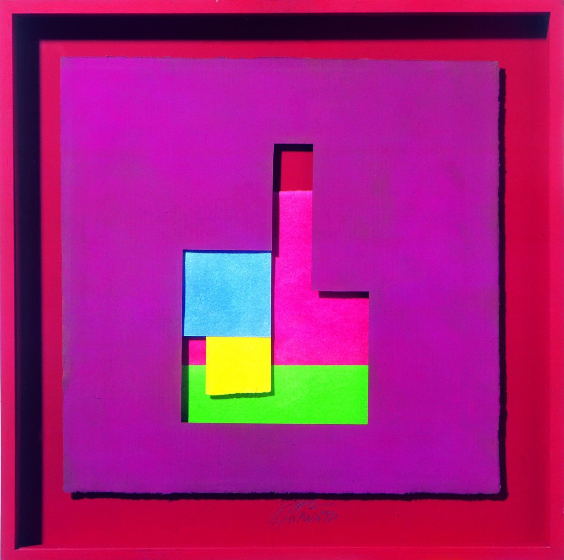 Pál Horváth, Construction papier, Papier fait main sur bois, 1997. 62.5 x 62.5 cm. Collection d'art moderne et contemporain de l'ULB